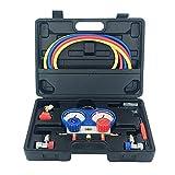 ThreeH Conjunto de medidor de colector de CA apto para refrigerantes R134A para carga de freón, con acopladores de manguera de 5 pies y adaptador Acme MA09