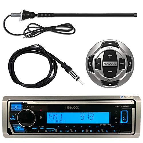 "Kenwood Single DIN Marine Digital Media Bluetooth Receiver Bundle with Wired Remote, Enrock AM/FM Antenna (Black), Wired Antenna - 40"""