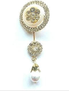 White Stone Diamond Wedding Designer Brooch Safety PIN Saree PIN ONE Side of Safety PIN Hijab Sari PIN Women Brooch 1.5 inches