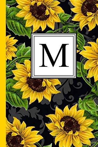 M: Floral Letter M Monogram personalized Journal, Black & Yellow Sunflower pattern Monogrammed Notebook, Lined 6x9 inch College Ruled 120 page perfect bound Glossy Soft Cover