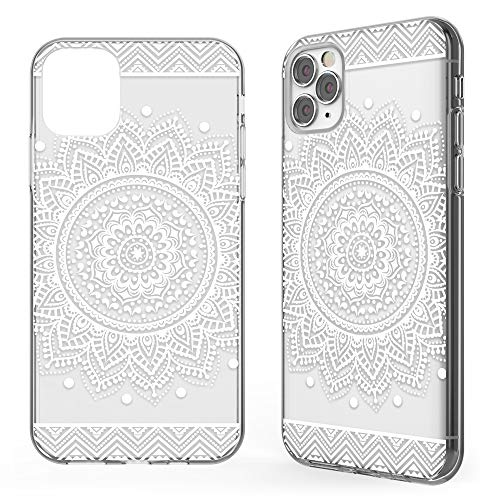 NALIA Motif Case Compatible with iPhone 11 Pro Max, Pattern Design Cover Slim Protective Silicone Phone Bumper, Ultra Thin Shockproof Mobile Back Protector Rugged Soft Skin, Motiv:Circle Flowers