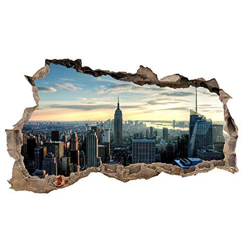 3D Wandtattoo Mauerloch Wandsticker Wandaufkleber Durchbruch Städte Landschaft selbstklebend H 60 x B 100 Schlafzimmer Wohnzimmer (WL08 New York)
