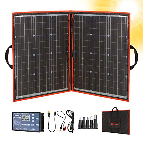 Dokio 100W 18V PORTABLE FOLDABLE Solar Panel Kit (21x28inch, 5.9lb) Monocrystalline(HIGH Efficiency) with CONTROLLER 2 USB Output to Charge 12V Batteries (All Types: Vented AGM Gel) RV Camper Boat