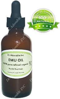 Emu aceite 100% puro orgánico aceite hidratante para el crecimiento del cabello estrías del rostro y más totalmente refinado 2oz vidrio ámbar frasco con cristal cuentagotas