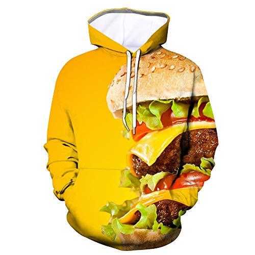 WEIYI BO Men Women Novelty Pullover Hoodies 3D Realistic Printed Burger Pattern Fashion Sweatshirt with Pocket Wy - 322 L