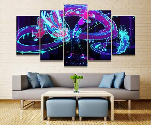 WARMBERL Peintures Sur Toile 5 Images Imprimées Haute Définition Jeu Affiche Alliance Murale Sur Toile pour Décoration Murale Art Prints on Canvas Framed