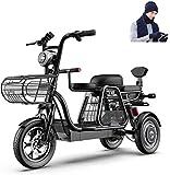 Bicicletas Eléctricas, 3 Rueda de bicicleta eléctrica 500W bicicleta eléctrica for el adulto 48V 11ah 12 en Scooter eléctrico con bloqueo eléctrico cargador rápido de batería con sombrero de la bufand
