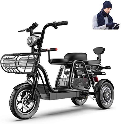 Bicicletas Eléctricas, 3 Rueda de bicicleta eléctrica 500W bicicleta eléctrica for el adulto 48V 11ah 12 en Scooter eléctrico con bloqueo eléctrico cargador rápido de batería con sombrero de l