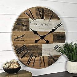 FirsTime & Co. 18 Pallets Wall Clock, Dark, Light, Gray Brown