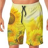 OKIJH Hommes de Maillots de Bain Shorts Culottes Pantalons de Plage Pantalons Cinq Quarts Sunflower Flowers Men's Beach Board Shorts Swim Trunks Casual Gym Home Pants with Pocket