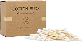 WT-DDJJK Bawełniany wacik, 200 szt. podwójne końcówki bambusowe waciki pąki biodegradowalne drewniane sztyfty do uszu