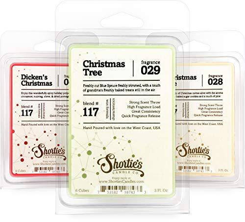 Christmas Wax Melts Variety Pack - Formula 117 - Dicken's Christmas, Christmas Tree, Christmas Eve - 3 Highly Scented 3 Oz. Bars - Made With Natural Oils - Christmas & Holiday Warmer Wax Cubes