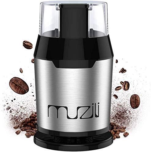 Muzili Elektrische Kaffeemühle, Bohnen-, Nuss- und Getreide mühle mit 304 Edelstahlmessern, leistungsstarkem Motor mit 22000U/min,60 dB Geräuscharm,50ml Fassungsvermögen, kostenlose Reinigungsbürste