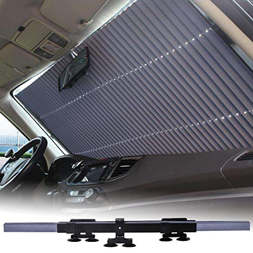 Mieziba Car Windshield Sun Shade,Universal Retractable Car Sun Shade for Windshield,Front Window U V Heat Insulation Large Sun Visor Protector Blocks 99% UV Rays to Keep Your Vehicle Cool, 27.5 inch