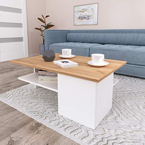GLmeble - Couchtisch für das Wohnzimmer, Hochwertiges, Modernes Design Couchtische für die Einrichtung von Heimbüros (Gold - Weiß, Typ 3)