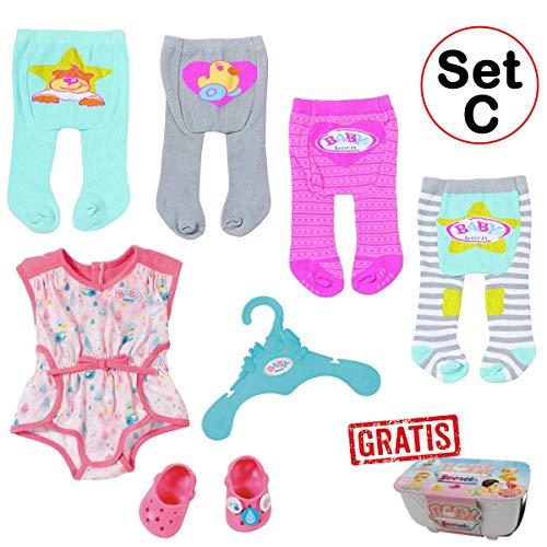 SPAR-SET 173722 Set C - Zapf - Baby Born - Kleidungsset mit 4 Strumpfhosen + Pyjama mit Clogs