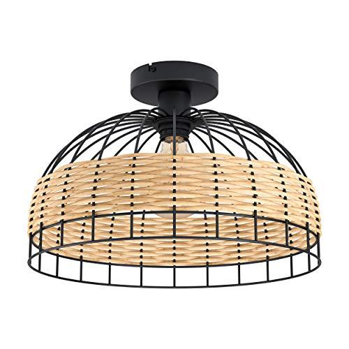 EGLO Deckenlampe Anwick, 1 flammige Deckenleuchte Vintage, Boho, Wohnzimmerlampe aus Stahl und Rattan in Schwarz, Natur, Küchenlampe, Flurlampe Decke mit E27 Fassung