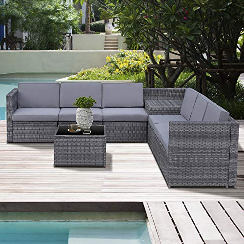 Outsunny 8-TLG. Polyrattan Gartengarnitur Gartenmöbel Garten-Set Sitzgruppe Loungeset Loungemöbel Beistelltisch als Aufbewahrungskorb Grau Stahl + Polyester 58 x 58 x 37 cm - 2