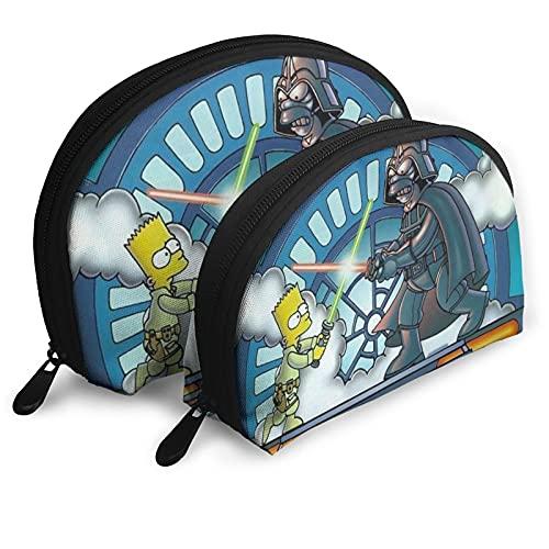 Simpsons Star Wars Bolsas de Cosméticos Portátil Bolsa de Embrague Bolsa de Embrague Set Mujeres Hombres Bolsa de Viaje con Cremallera Organizador de Bolso 2pcs