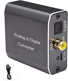 Analog to Digital Audio Converter, Tiancai 2RCA R/L or 3.5 mm Jack Aux to Toslink SPDIF Optical and Coaxial, Support Dual ...