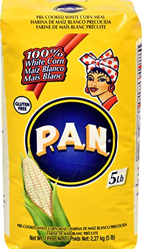 P.A.N. White Corn Meal – Pre-cooked Gluten Free and Kosher Flour for Arepas, 2.27 kg (5 lb)