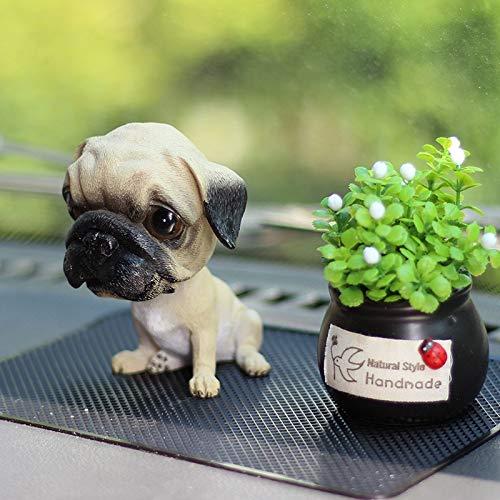 FWUDI Accesorios de decoración de salpicaderos Sacudiendo la Cabeza Mini Puppy Dashboard Car Decoración Interior, Automóvil Asintiendo Drocha Destaces Accesorios