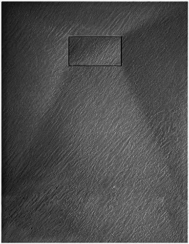 Piatto Doccia Spessore 2.6 Cm In Resina SMC Effetto Pietra Stone Ardesia Filopavimento Antiscivolo Indistruttibile Riducibile Arredo Bagno Con Griglia Di Copertura Colore Nero (70 x 150 cm)