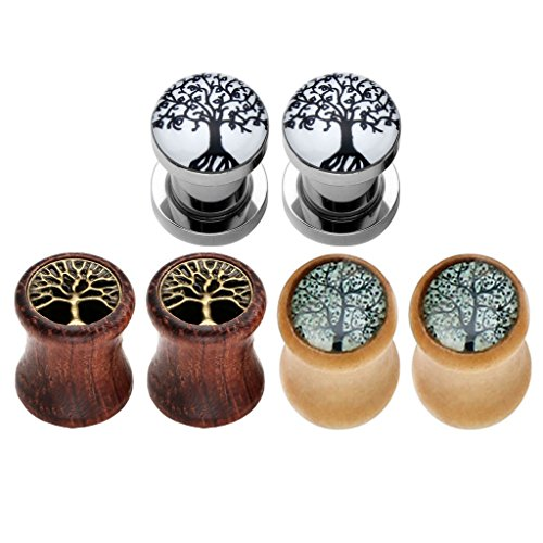 Jovivi 6pcs Tree of Life Stainless Steel Organic Wood Ear Tunnels Plugs Kit Expander Stretchers 0G-5/8 Gauges