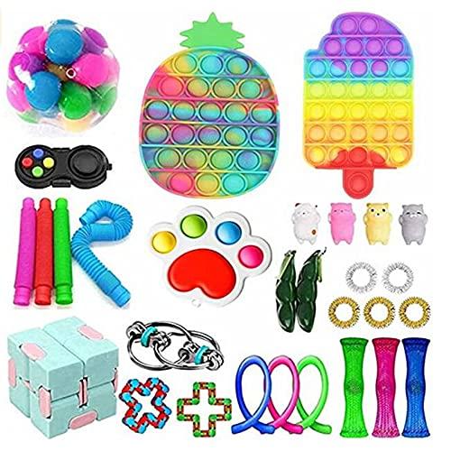 NEWPEE Fidget Toy Set, 30 Pieces Tiktok Cheap Push Bubble Sensory Fidget Pack, Simple Dimple Autism ADHD Stress Relieve Hand Toys for Adults Kids (B)