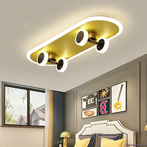 CRJ LED Skateboard Lampe Deckenlampe Dimmbar Deckenleuchte Für Kinderzimmer Deckenbeleuchtung Schlafzimmer Wohnzimmer Mit Fernbedienung Decke Licht 32W Skateboardlampe Metall/Acryl 60Cm,B