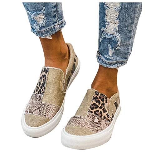 BIBOKAOKE Scarpe a vela, da donna, basse, in tela con plateau, scarpe piatte con piattaforma, scarpe estive in tela