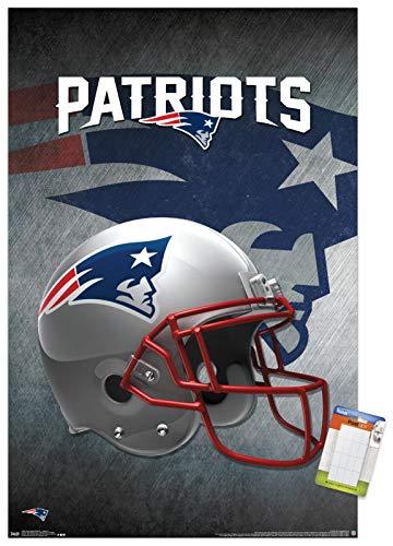 Trends International NFL New England Patriots-Helmet Mount Wall Poster, 14.725' x 22.375', Premium Poster & Mount Bundle