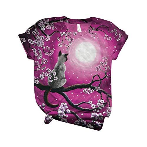 Camiseta de manga corta para mujer, diseño de gato con estampado de manga corta y cuello redondo rojo XXL