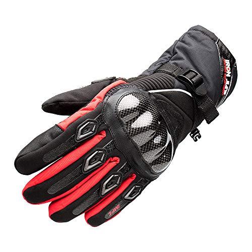 Guantes Moto Impermeable de la Fibra de Carbono,Guantes de Motocicleta térmico en Invierno Negro para Hombre Mujer Puede Pantalla táctil