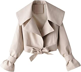 iHHAPY Women's Faux Leather Jacket Biker Jacket Motorcycle Jacket Short Transition Jacket Casual Outwear with Zipper