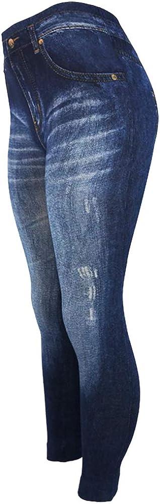 CLOYA Women's Denim Print Seamless Full Leggings for All Seasons - One Size Fits Large & X-Large