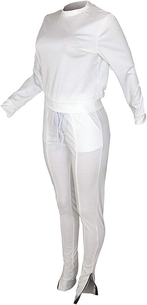 TUDUZ Damen Hausanzug Jogginganzug Jumpsuit Langarm Pullover Sportanzug Trainingsanzug Rundhals Sweatshirt Lang Weiß