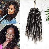 20cm-Extension per Treccine Africane Ricci Capelli Finti Corti Braiding Hair Treccia Afro Extension-Nero a Grigio Argento