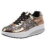 Femmes Dames Compensées Sneakers Paillettes Shake Chaussures Mode Filles Chaussures de Sport Semelles compensées Chaussures à Bascule Baskets BaZhaHei