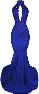 Sexy High Neck Long Mermaid Prom Dresses Backless Beaded Appliques Lace Evening Dresses for Women 2019