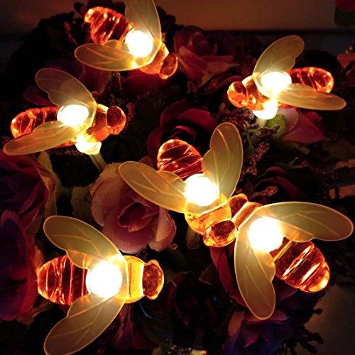 Honeybee Fairy String Lights, 20 LED 7.5Ft Honeybee Battery Power Led String Lights for Party,Wedding,Xmas,Decoration,Gardens,Patios