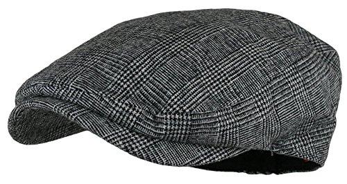 Men's Herringbone Wool Tweed Newsboy Ivy Cabbie Driving Hat (Plaid Green)