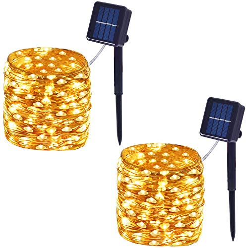 Outdoor Waterproof Solar String Lights, 100-LED with 8 Modes, Durable Super-Bright Light, Copper Wire Solar Powered Fairy Lights for Garden, Party, Christmas, Wedding 2-Pack (Warm White)