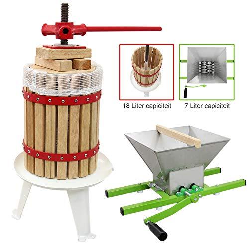 KuKoo Prensa de fruta de 18 litros y trituradora de 7 litros, trituradora manual para hacer vino, extractor de sidra portátil, exprimidor de manzana, uva, pera y bayas