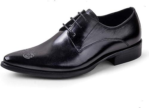 MISS&YG Herren-Business Oxford schuhe Atmungsaktiv Brock Geschnitzte Kleider Schuhe,schwarz,40