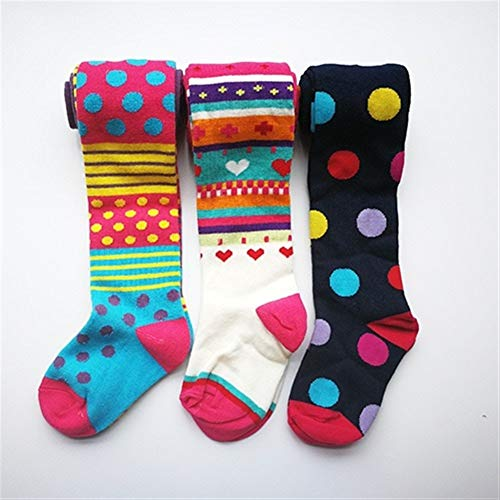 GLBS 3 PCS Automne Hiver Fille Bébé Collants Enfant Stripe Genouillères Coton De Maintien Au Chaud Confortable Leggings Bébé Tricot for Âge 3-8 Ans (Color : Green, Size : 5-6)