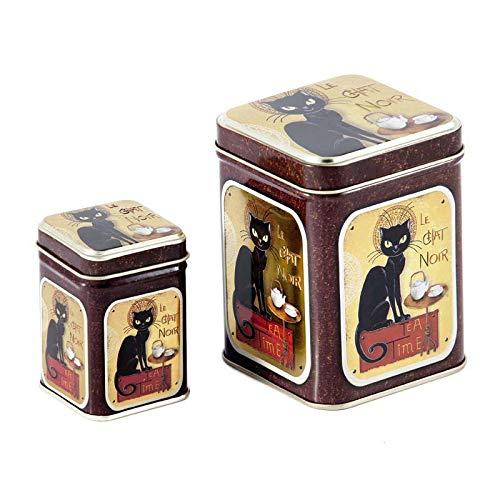 Juego de Latas para Té - Caja de Té - Recipiente Contenedor Almacenamiento de Té - Diseño Le Chat Noir - Lata de Té - Capacidad 100 gr y 25 gr
