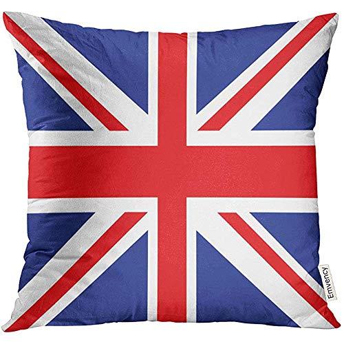 Lihaky Funda de Almohada Azul Bandera de la Unión Británica de Red Jack Funda de Almohada Decorativa Inglesa Square Funda de Almohada de 18 x 18 Pulgadas