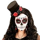 Amakando Encantador Sombrero Cilindro Miniatura días de los Muertos/Negro-Rojo/Mini sombrerito gótico Calavera con pétalos de Rosa/Centro de atención para carnavales y Fiestas de Terror