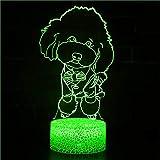 Lámpara de ilusión óptica 3D con diseño de perro, 7 colores, interruptor táctil, ilusión, luz nocturna, para dormitorio, hogar, decoración, boda, cumpleaños, Navidad, regalo de San Valentín